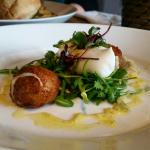 Poached Duck egg and guyere bon bons