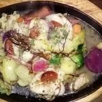 Lotte petit bateaux piquée au chorizo, aux petits légumes d'hiver, un régal