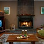 Unwind by the fireplace with a glass of wine.