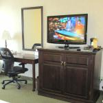 TV and desk in the room