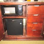 Fridge and microwave in the room