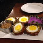 Scotch eggs with whole grain mustard dipping sauce