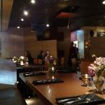 A view of the dining room and bar area from one of the tables at the front of the restaurant.