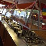 Salad bar -kept fresh and highly attended.