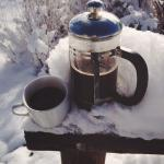 Stay for awhile and choose your roast with a French press