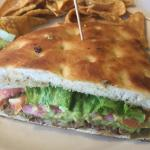 Mexican Torta on focaccia bread