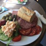 Delicious meat platter in unusual setting