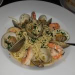 Spaghetti with clams and shrimp