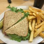 Roast Beef sandwich with fries and a pickle!