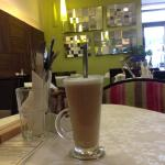 Latte in the beautiful new setting of Cafe K