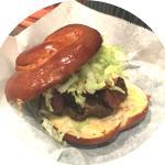 Fieldhouse famous pretzel bun burger