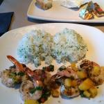 Shrimp and Sea Scallops with Mango and rice