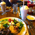 Prime rib cobb salad and blackberry shake.