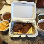 We had the beef tips, turkey ribs, wings, brisket, macaroni & cheese, cornbread, greens and bean