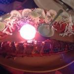 Tandoori Shark with candle lit onion