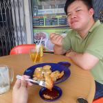 Enjoying brunch with a plate of cucur udang, sweet potatoes, fishcake & beancurd.
