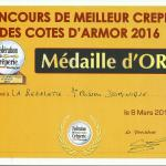 médaille d'or des COTES D'ARMOR 2016