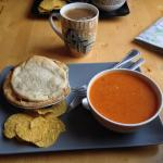 Bacchus Books and Cafe - Golden BC - Chicken Pot Pie with Caribbean soup - Yummy!