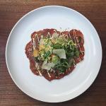 | Beef Carpaccio |  • rare beef tenderloin + arugula + dijon mustard vinaigrette •