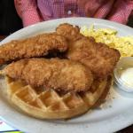 Hand breaded fresh chicken (not processed pieces) Ight and fluffy waffle AWESOME FLAVOR!!!!