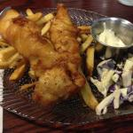 Fish and chips with coleslaw and tartar sauce