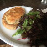 Homemade (Cornish) pasty with green salad