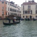 Travelling across the Grand Canal - standing up, the traditional way to do it apparently!