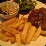 Good steak, nice seasoned chips.