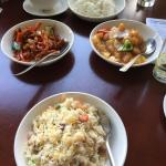 Crispy beef, sweet and sour chicken and special friend rice
