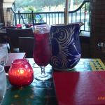 a jug and glass of sangria