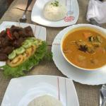 Beef lok lak and Cambodian pork curry