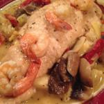 Andolini Sauce dinner with shrimp and chicken