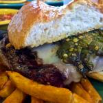 The Steak Sandwich at Peppers with Green Chile and cheese.