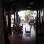 A view from the dining area inside the bungalow.