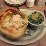 The chicken pot pie is delicious, but could actually use more vegetables.