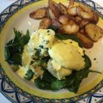 Eggs Benedict over Spinach and Crab Cakes