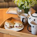 a welcome scone and tea on arrival