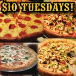 $10 Medium Pizzas every Tuesday!