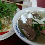 Lean beef and well done flank pho