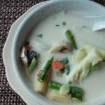 Coconut soup, stayed very hot through the meal, lots of fresh veggies.