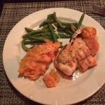 Ultimate Mixed Grill-salmon, 2 type of grilled shrim, mashed potatos & beans; shown is half meal