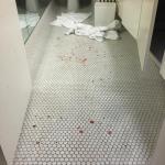 The crime scene bathroom
