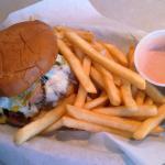 hawaiian bun on this black bart burger with fries
