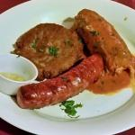 Potato Pancake, Stuffed Cabbage, Kielbasa.