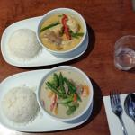 Red Chilli Thai - Red & Green Thai Beef Curries with rice