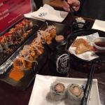 Rocket Rolls, Gyozas, Spicy Salmon