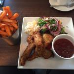 Breaded chicken fillets, and sweet potato fries
