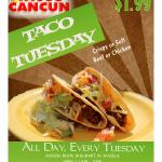 Ridiculous Weekday Special. Offered Every Tuesday all day. $1.99 tacos and specialty tacos $1 Of