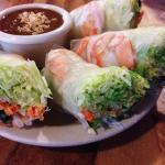 Fresh Thai Basil Spring Rolls with Peanut Sauce