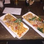 Spaghetti with king prawns & Fusilli Alla Rusticana